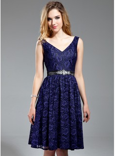 A-Line/Princess V-neck Knee-Length Charmeuse Lace Bridesmaid Dress With Sash Beading