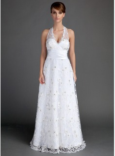 A-Line/Princess Halter Floor-Length Satin Lace Wedding Dress With Ruffle Beadwork