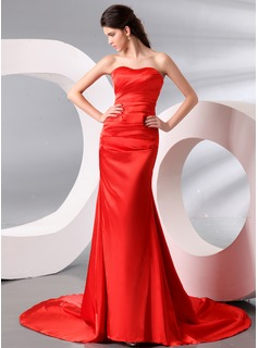 Sheath Sweetheart Court Train Charmeuse Evening Dress With Ruffle