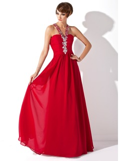A-Line/Princess Halter Floor-Length Chiffon Prom Dress With Ruffle Beading (018005359)
