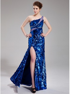 Sheath One-Shoulder Floor-Length Tulle Sequined Prom Dress With Beading