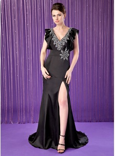 Mermaid V-neck Sweep Train Charmeuse Mother of the Bride Dress With Beading Sequins