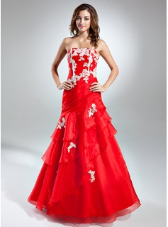 A-Line/Princess Strapless Floor-Length Organza Prom Dress With Embroidered Cascading Ruffles