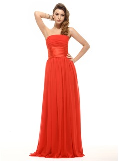 Empire Strapless Floor-Length Chiffon Charmeuse Holiday Dress With Ruffle