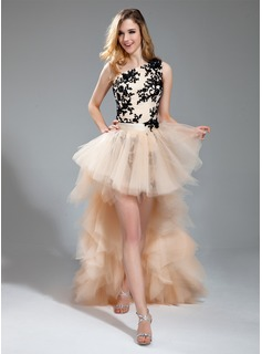 Sheath One-Shoulder Asymmetrical Satin Tulle Prom Dress With Embroidered Lace Beading (018019123)