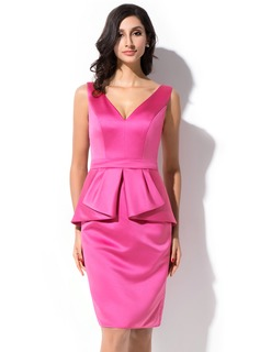 Sheath/Column V-neck Knee-Length Satin Cocktail Dress With Cascading Ruffles