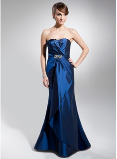 Mermaid Sweetheart Floor-Length Taffeta Evening Dress With Ruffle Beading (017014680)