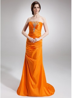 Sheath Strapless Sweep Train Taffeta Evening Dress With Ruffle Beading