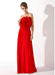 A-Line/Princess Strapless Floor-Length Chiffon Prom Dress With Flower(s)