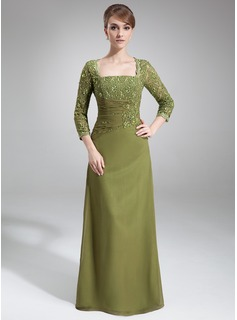 Sheath Square Neckline Floor-Length Chiffon Mother of the Bride Dress With Lace Beading Sequins