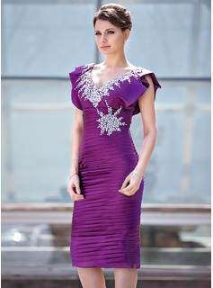 Sheath V-neck Knee-Length Charmeuse Mother of the Bride Dress With Ruffle Beading Sequins