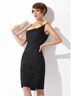 Sheath One-Shoulder Knee-Length Chiffon Charmeuse Cocktail Dress With Ruffle Sash Beading