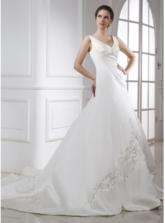 A-Line/Princess V-neck Chapel Train Satin Wedding Dress With Embroidered Ruffle