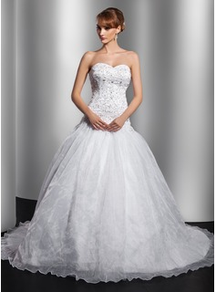 Ball-Gown Sweetheart Chapel Train Organza Satin Wedding Dress With Embroidery Beading