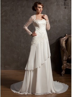 A-Line/Princess Sweetheart Chapel Train Chiffon Satin Tulle Wedding Dress With Lace (002014901)