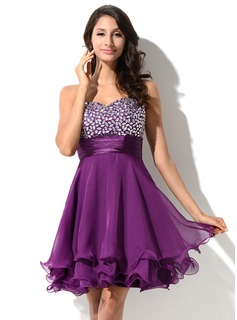 Empire Sweetheart Short/Mini Charmeuse 30D Chiffon Homecoming Dress With Beading