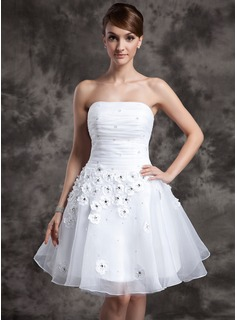 A-Line/Princess Strapless Knee-Length Organza Wedding Dress With Ruffle Beadwork Flower(s)
