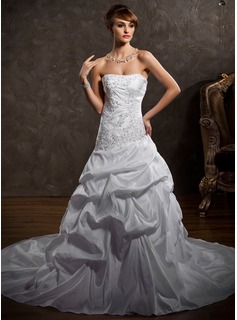 A-Line/Princess Strapless Cathedral Train Taffeta Wedding Dress With Ruffle Lace Beadwork