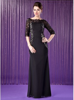 Sheath Off-the-Shoulder Floor-Length Chiffon Charmeuse Mother of the Bride Dress With Lace