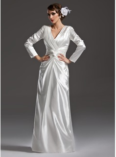 Sheath/Column V-neck Floor-Length Charmeuse Mother of the Bride Dress With Ruffle