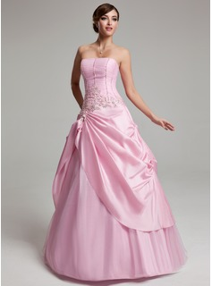 A-Line/Princess Strapless Floor-Length Taffeta Tulle Quinceanera Dress With Ruffle Lace Beading