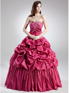 Ball-Gown Sweetheart Floor-Length Taffeta Quinceanera Dress With Ruffle Beading Flower(s) (021015702)