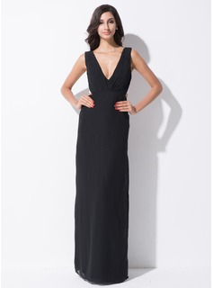 Sheath/Column V-neck Floor-Length Chiffon Satin Holiday Dress With Ruffle Bow(s)