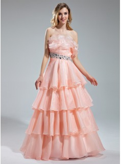 A-Line/Princess Scalloped Neck Floor-Length Organza Prom Dress With Beading