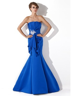 Mermaid Scalloped Neck Sweep Train Satin Evening Dress With Ruffle Beading Appliques Sequins