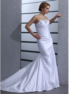 Mermaid Strapless Chapel Train Satin Wedding Dress With Ruffle Beadwork