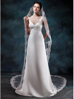Sheath/Column V-neck Court Train Satin Wedding Dress With Beadwork (002012749)