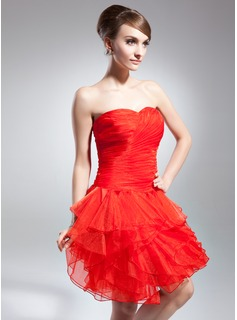 A-Line/Princess Sweetheart Knee-Length Organza Cocktail Dress With Cascading Ruffles