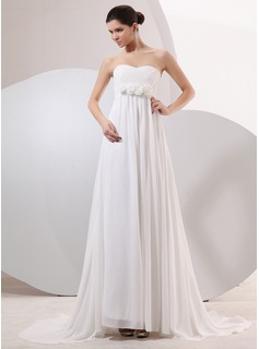 Empire Sweetheart Court Train Chiffon Wedding Dress With Cascading Ruffles