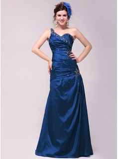 A-Line/Princess One-Shoulder Floor-Length Taffeta Evening Dress With Ruffle Beading