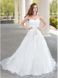Ball-Gown Sweetheart Court Train Organza Satin Wedding Dress With Lace Beadwork Flower(s)