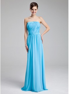 A-Line/Princess Strapless Floor-Length Chiffon Charmeuse Bridesmaid Dress With Ruffle
