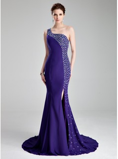 Mermaid One-Shoulder Court Train Chiffon Prom Dress With Beading