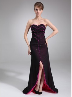 Sheath Sweetheart Sweep Train Chiffon Evening Dress With Beading (017016836)