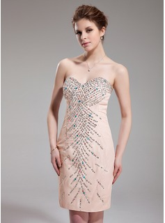 Sheath Sweetheart Knee-Length Chiffon Sequined Cocktail Dress With Beading