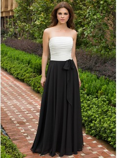 A-Line/Princess Strapless Floor-Length Chiffon Bridesmaid Dress With Ruffle Bow(s)