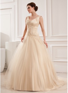 Ball-Gown V-neck Chapel Train Satin Tulle Wedding Dress With Lace Beadwork