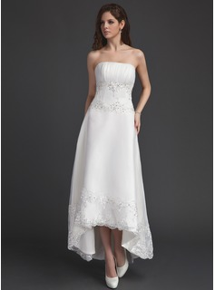 A-Line/Princess Strapless Asymmetrical Organza Wedding Dress With Ruffle Lace Beadwork Sequins