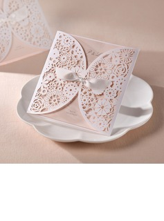 Personalized Artistic Style Wrap & Pocket Invitation Cards With Bows (Set of 50)