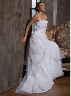 A-Line/Princess Strapless Court Train Organza Satin Wedding Dress With Ruffle Flower(s)