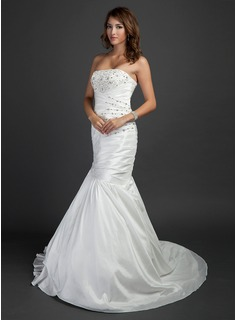 Mermaid Strapless Court Train Taffeta Wedding Dress With Ruffle Beadwork (002015352)