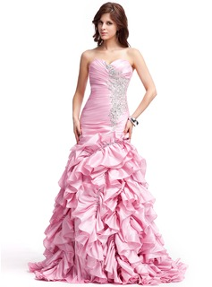 A-Line/Princess Sweetheart Sweep Train Taffeta Prom Dress With Embroidered Ruffle Beading
