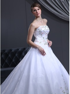 Ball-Gown Strapless Cathedral Train Organza Satin Wedding Dress With Beadwork