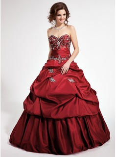Ball-Gown Sweetheart Cathedral Train Taffeta Quinceanera Dress With Embroidered Ruffle Beading Sequins