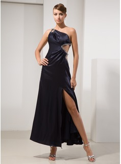 A-Line/Princess One-Shoulder Ankle-Length Charmeuse Prom Dress With Beading