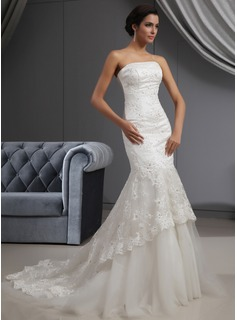 Mermaid Strapless Court Train Satin Tulle Wedding Dress With Lace Beadwork Sequins
